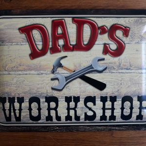 Metalen wandbord Dad's Workshop