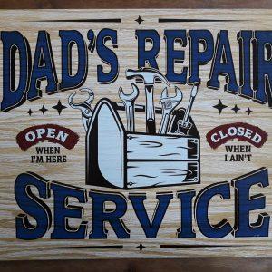 DAD'S REPAIR SERVICE – Metalen wandbord
