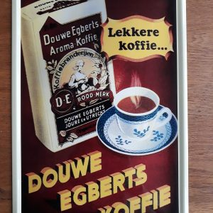 DOUWE EGBERTS KOFFIE – Metalen wandbord