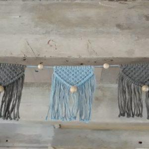 Macramé – Vlaggenlijn – Blauw-Grijs – Handgemaakt