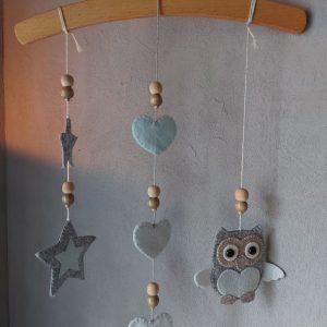 Hanger voor de Babykamer – Uil van Vilt – Handgemaakt