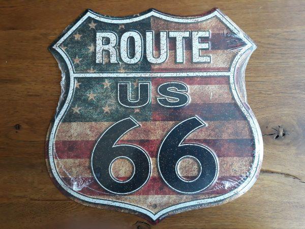 Aluminium wandbord Route 66