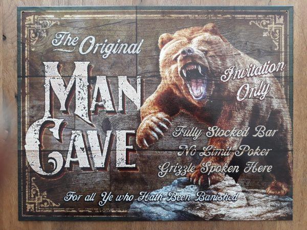 Metalen wandbord MAN CAVE BEER