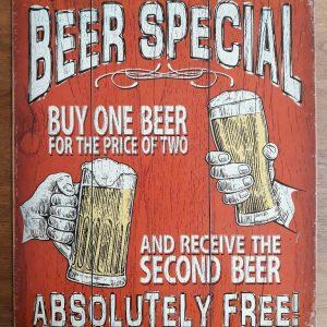 wandbord Today's Beer Special