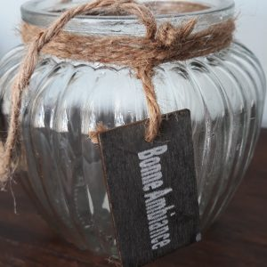Windlicht van glas - Bonne Ambiance - met Jute touw