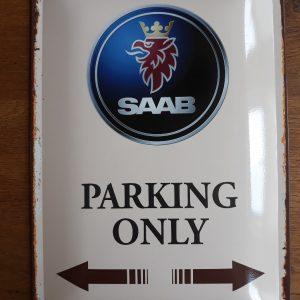 Metalen wandplaat - SAAB Parking Only