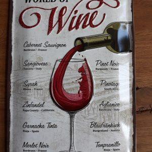 Metalen wandbord met reliëf - WORLD OF WINE