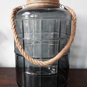 Senza - Decoratieve XL Pot - Windlicht - Glas - met Jute touw