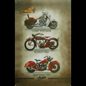 INDIAN Motorcycle - 3 Models - metalen wandbord