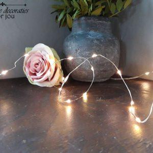 Zilverdraad LED Lichtsnoer – 2 meter – Warm white – Kerstverlichting