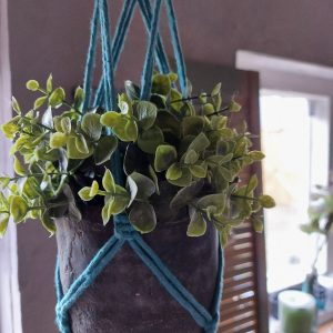 Macramé – Plantenhanger – Handgemaakt – Turquoise